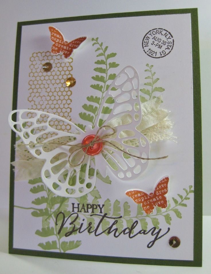 Butterfly Basics - SU - Butterfly Thinlits Die, Bitty Butterfly punch - collage, vintage card (by Barb Mann)