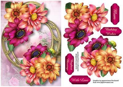 Gyönyörű dáliák egy arany keretben - CUP556281_1763 | Craftsuprint
