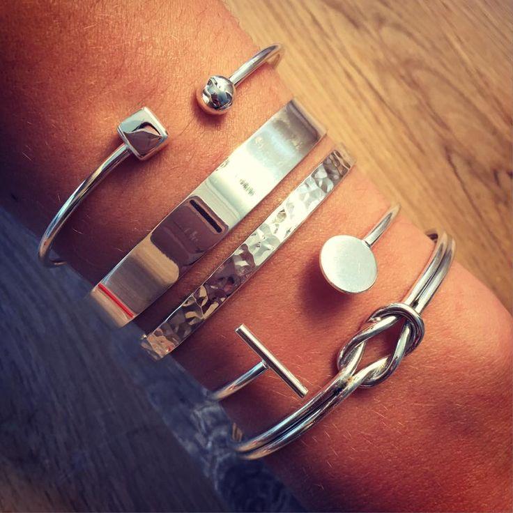 Composition de bracelets joncs en argent - L'Atelier d'Amaya