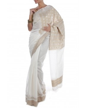 White Saree by PDS