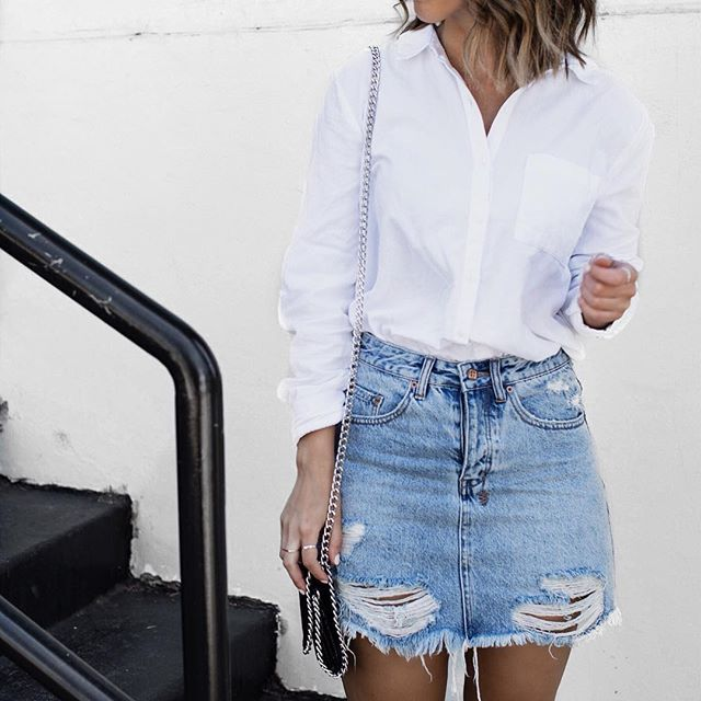 Best 25  White denim skirt ideas only on Pinterest | Denim skirt ...