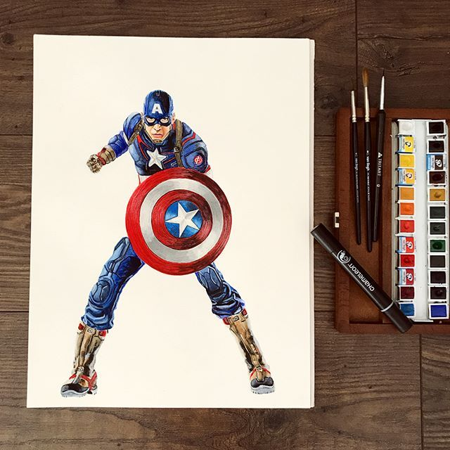 Awesome Captain America From K A L I S A Marvel Chameleonpens Coloring Colouring Colour Draw Chameleon Pens Markers Captain America Illustration Art