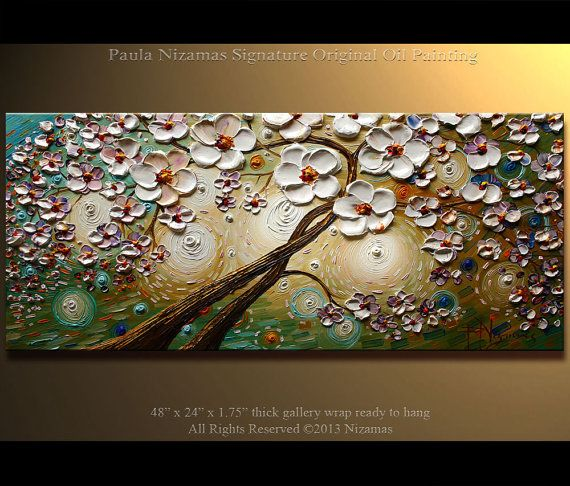 """ORIGINAL Abstract Contemporary Blooming Tree Oil Painting Heavy Palette Knife Texture by Paula Nizamas 48"""" x 24"""" on Etsy, $420.00"""