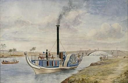 Yarra river paddle-steamer, by FW Wilson, 1855