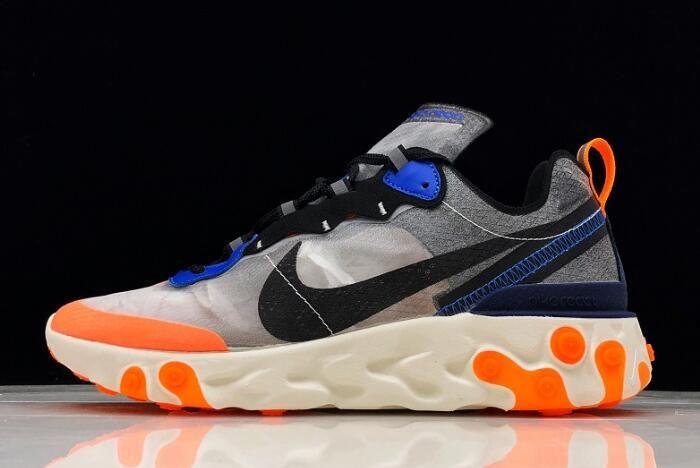 prima clienti prezzo favorevole pacchetto alla moda e attraente Nike React Element 87 Wolf Grey/Thunder Blue-Total Orange-Black ...