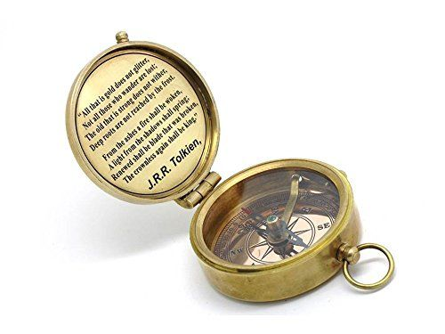 Solid Brass Compass J R R Tolkien Quote With Leather C Https