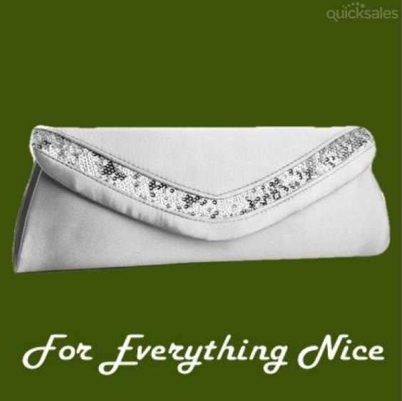 Silver Satin Sequined Envelope Evening Bag Bridal Purse by JRMB7339 - $55.00