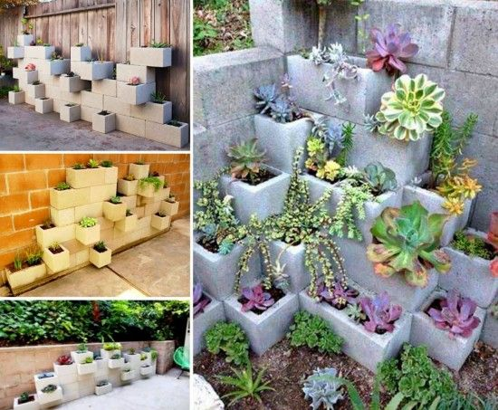 cinder block planter ideas for your garden gardens. Black Bedroom Furniture Sets. Home Design Ideas