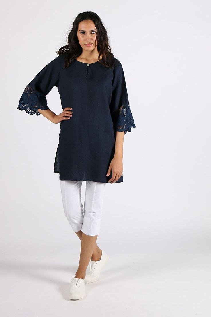 Valia - Lace Top By Valia In Navy