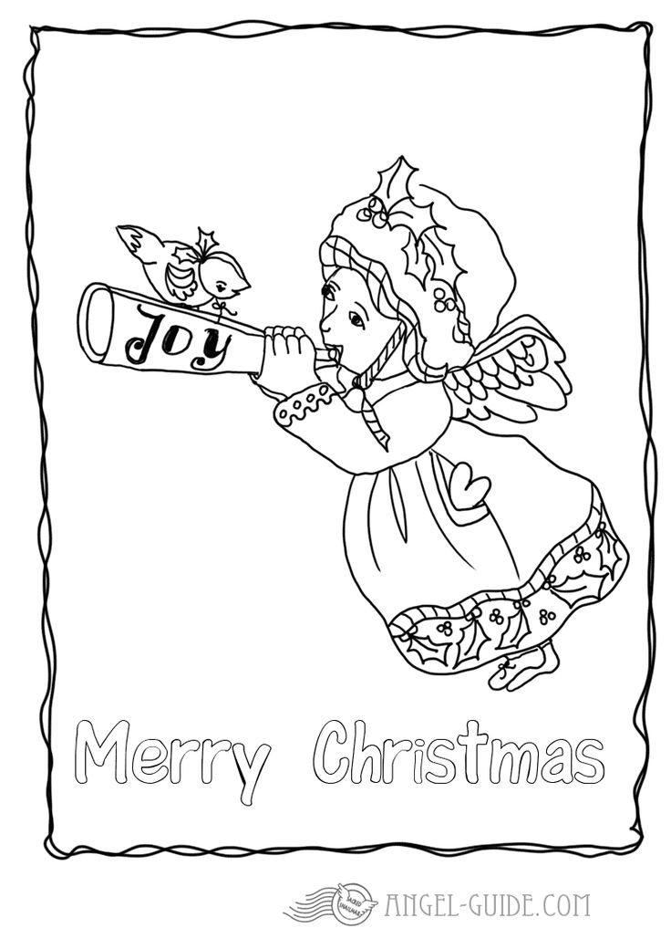 Angel Coloring Pages - Angel with Trumpet 2 A little angel of joy sounding his sweet melody , carrying a little love heart to spread some joy for the festive season with the coloring in font Merry Christmas added for our german visitors : kostenlose Malvorlagen mit Engeln, Weihnachtsausmalbilder fuer Kinder zum Herunterladen Ausmalbild mit Engel zum Weihnachtsbasteln, Bastelvorlage, Engel Vorlage zum ausdrucken