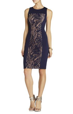 Bcbgmaxazria dress short-sleeve lace ponte sheath