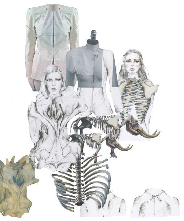 Fashion Portfolio layout - tailoring inspired by skeletal structures - fashion design mood board; fashion illustration; fashion sketchbook // Haidee de Fraine