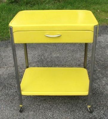 Vintage 1950s Yellow & Chrome Cosco Kitchen Utility Tray Cart