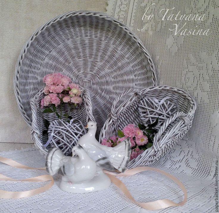 """Купить Свадебный набор """"Кантри"""" - серый, рустикальный стиль, рустик, кантри, кантри стиль, paper basket, weaving"""