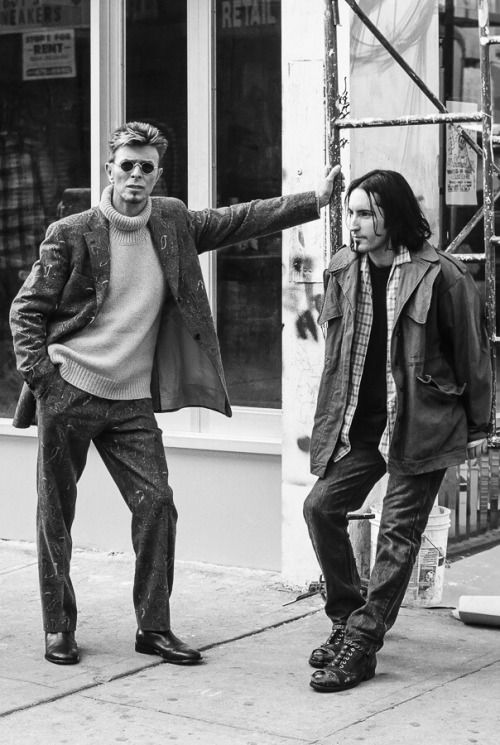 Two very cool dudes.David Bowie hangin' out with Trent Reznor on a music video shoot!