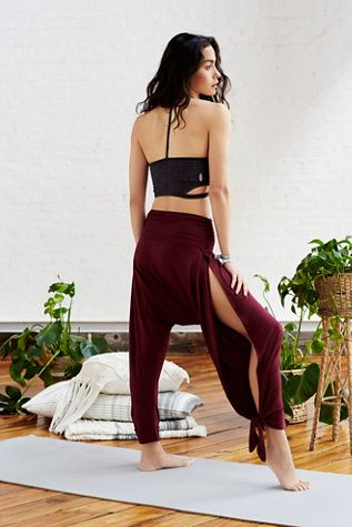 Blissed Out Pant    Free People In a soft jersey fabric, these harem style pants feature dramatic side slits and adjustable ties at the ankle.
