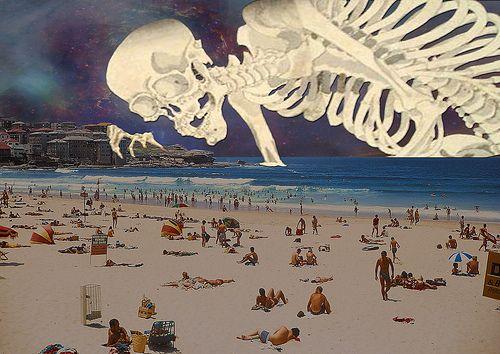 sickkk: Giant Skeletons, At The Beaches, Artsy Baby, Bondi Beaches, 1969, Artphotographyget Creative, Illustration, Dead Beaches, The Sea