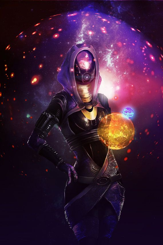 Large 11 x 17 Mass Effect Tali'Zorah vas by AnabelMartinezArt