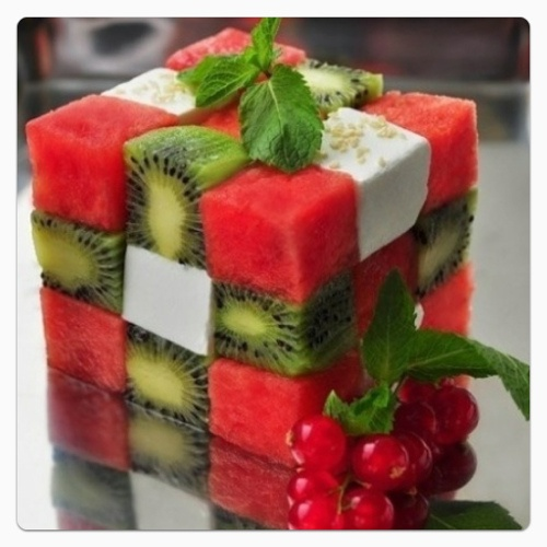 Watermelon, fetacheese and kiwi! genius