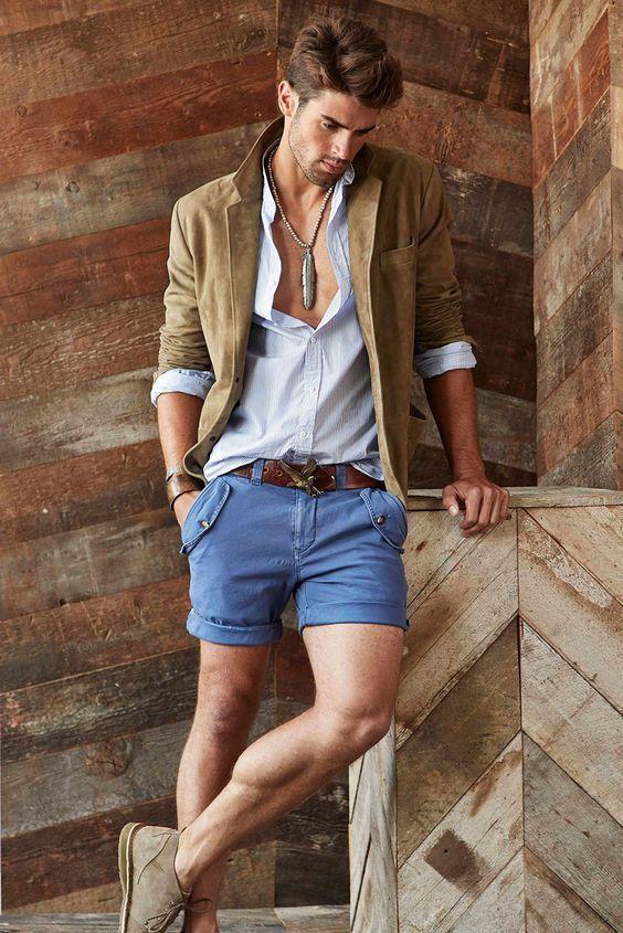 Beige Blazer With Shorts& Necklace