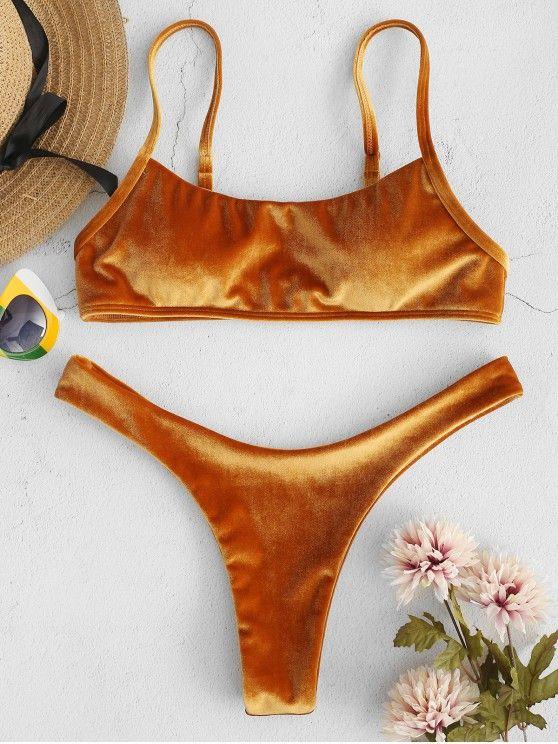 0b6a7e590476 Velvet High Leg Bikini Set in 2019 | Bikini / Swimsuit / Swimwear ...