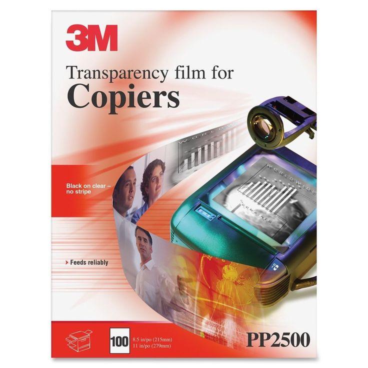 3M PP2500 Plain Paper Copier Transparency Film Black On Clear No Stripe Reliably #3M