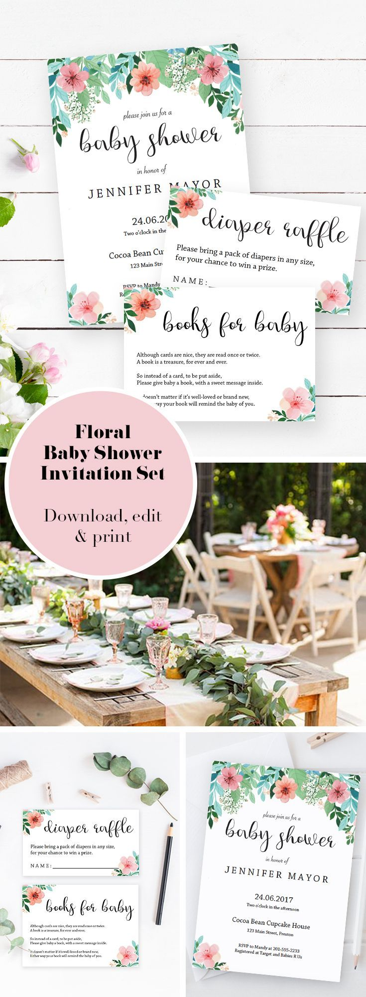 Floral Baby Shower Invitation Set. Baby Shower ideas and templates by LittleSizzle. Make the perfect announcement of a baby shower with this floral baby shower invitation set. Included in the set are the Invitation, a Diaper Raffle ticket and a Book request card. Personalize the items with your own words. Simply download, edit and print!