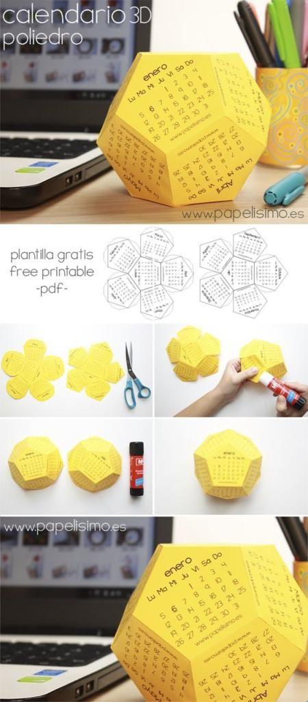 calendario anual poliedrico imprimible y contable en cartulina amarilla de forma poliedrica para el año nuevo 2017 diy