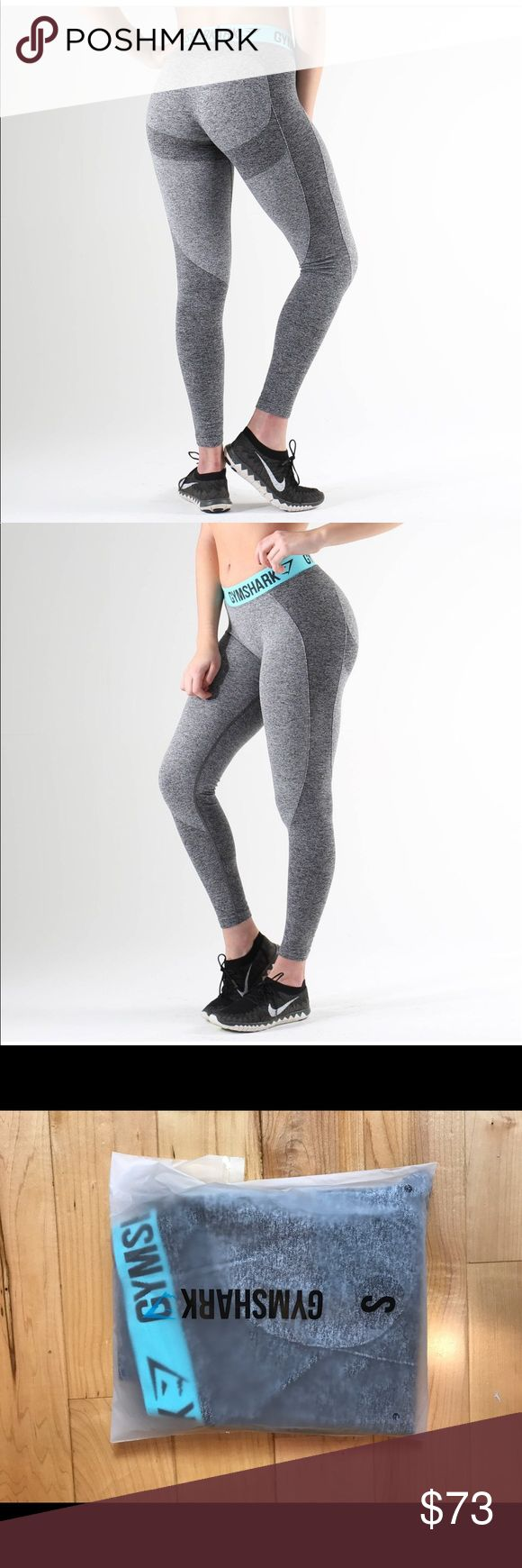 Gymshark Flex Legging - Turquoise Gymshark Flex Legging NEW WITH TAGS!  Tried on once for a review video.  Size: SMALL  Color: Charcoal Marl/Pale Turquoise  Purchased for a review video and do not want to pay to return them!  NO TRADES. NO HOLDS. Smoke Free & Pet Free Home. Buy before it sells out. Gymshark Pants Leggings