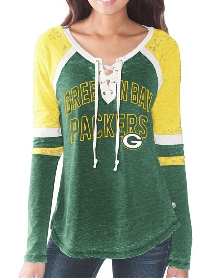 Touch by Alyssa Milano Green Bay Packers Womens Laceup Long Sleeve Top
