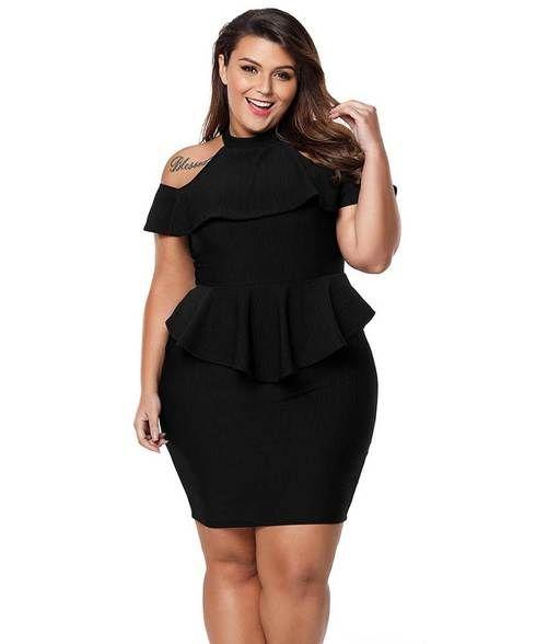 e15ba1ded2c Black cold shoulder peplum bodycon plus size mini dress in 2019 ...