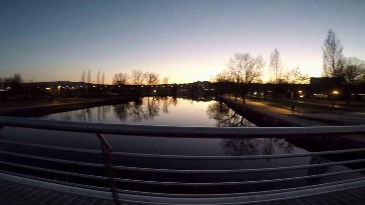 Rio Tamega o anoitecer e suas pontes_Chaves_urban landscape.