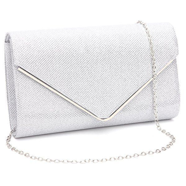 NEW SILVER SATIN EVENING CLUTCH BAG DAY NUDE SHOULDER BRIDE WEDDING PROM PARTY