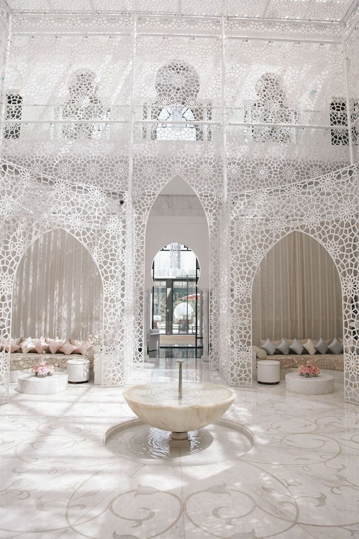 The spa in Royal Mansour Hotel in Marrakech takes a graphic approach to traditional Moroccan design.