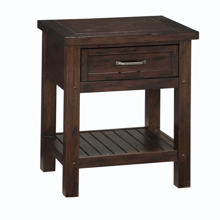 Bring rustic charm into your bedroom with this wood night stand from Cabin Creek. The vintage look of this night stand is achieved by hand-distressing the wood for a unique appearance. A lovely chestnut finish and storage shelf complete the look.
