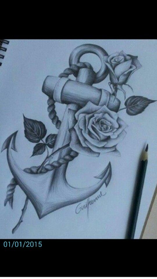 Anchor and rose shaded tattoo design