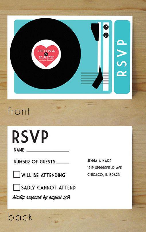 DIY Printable record player wedding invitation. $69.00, via Etsy.