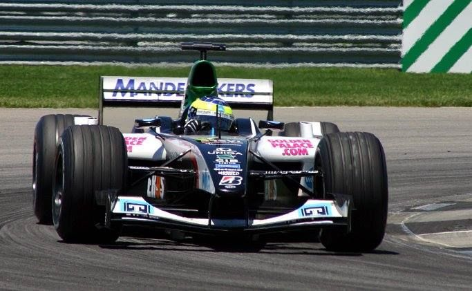 Zsolt Baumgartner racing for the Minardi F1 team at the US Grand Prix at Indianapolis in 2004