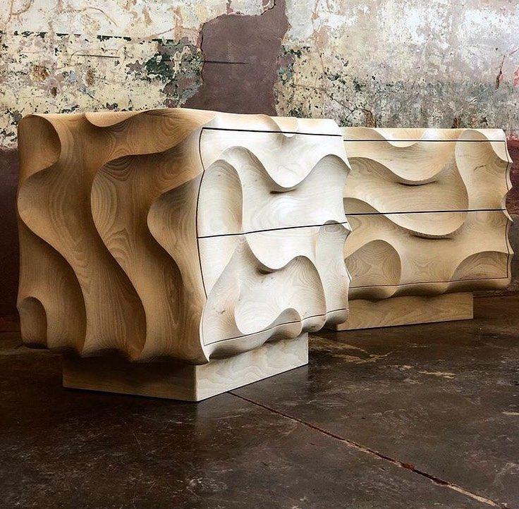 Db Design Bunker On Instagram The Exquisite Maelstrom Side Cabinet By Calebwoodardfurniture For Jefflincol In 2020 Sculptural Furniture Furniture Furniture Maker