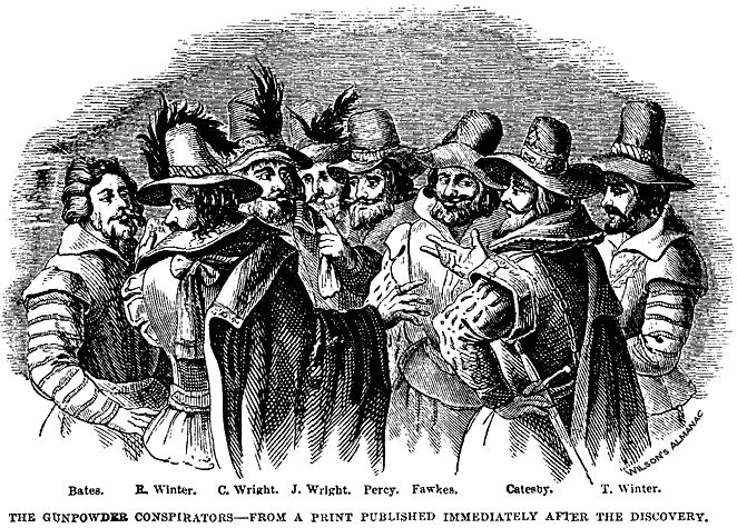 """""""'Remember, remember the fifth of November,' instructs the old nursery rhyme, and offers a useful summary: 'Gunpowder, treason and plot.' But we have never been sure quite what, or how, we should be remembering."""" Daniel Swift, author of Shakespeare's Common Prayers, discusses the Gunpowder Plot (The Gunpowder Conspirators, from a print published immediately after the discovery. Public domain via Wikimedia Commons) #GuyFawkes #GunpowderPlot"""