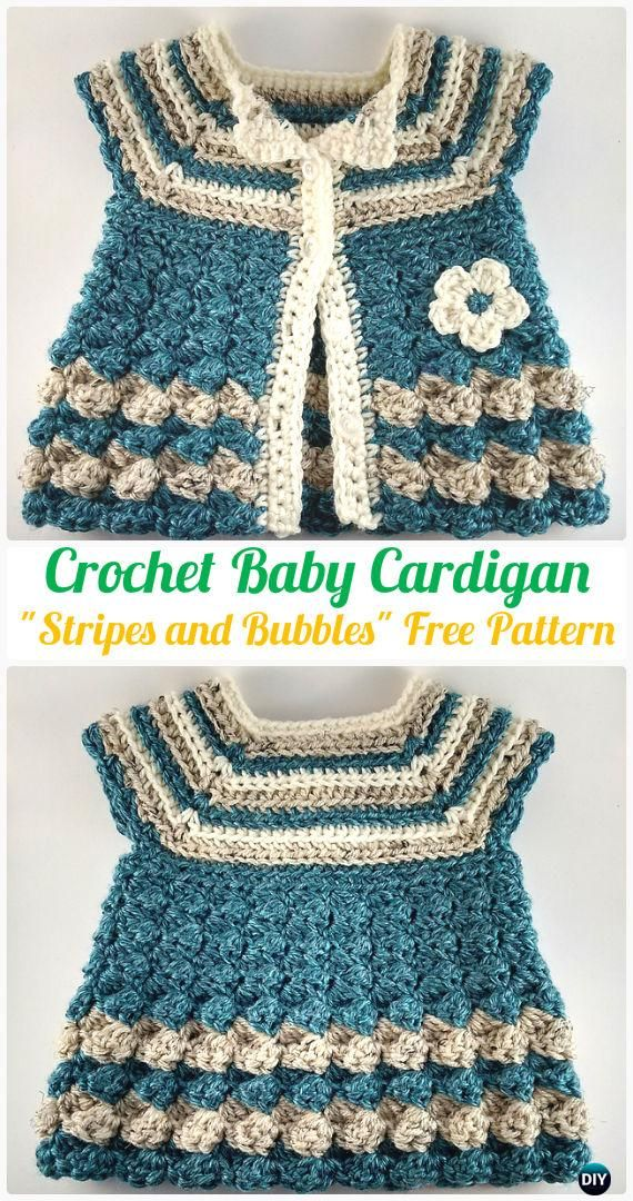 "CrochetBaby Cardigan ""Stripes and Bubbles"" FreePattern- Crochet Kid's Sweater Coat Free Patterns"