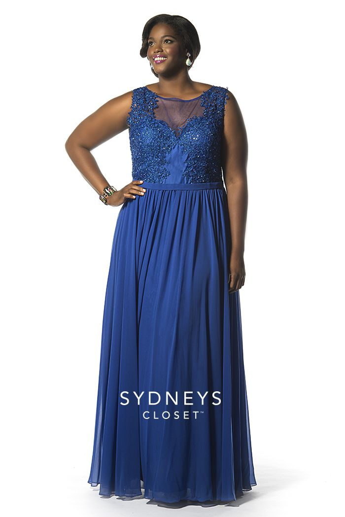 Royal Blue #Prom Dress with a  #sexy sheer net back. The Peek-a-Boo dress has lace on the bodice and a flowing chiffon skirt. This scoop neck dress will be sold in sizes 14 to 32! http://www.sydneyscloset.com/sydneys-closet/7158/
