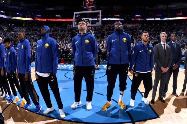 Golden State Warriors before the game against the Oklahoma City Thunder during the game at the Chesapeake Energy Arena on November 22 2017 in...