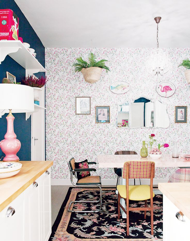 Inside a Groovy Pad Fit for a Queen// eclectic kitchen, colorful kitchen, wallpaper in kitchen: Decor, Interior Design, Home, Dining Room, Ideas, Wallpaper, Apartment, Kitchen, Living