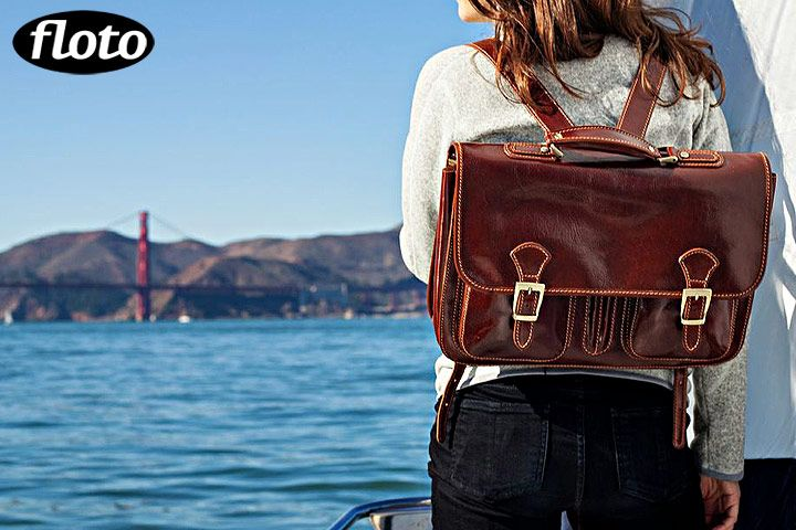 "Procida Pack is a messenger style backpack that comes in Vecchio Brown Italian calskin leather. Made in Italy.      Procida Features:      • 12"" h x 4"" w x 16"" l     • 2 Compartments - 2"" Wide Each     • Italian Calfskin Leather     • Inside Smartphone Organizer     • Brass Hardware     • Two Gusset Pockets - 8"" x 6.5"" x 1""     • Outside Zip Pocket     • Weight 3.5 pounds"