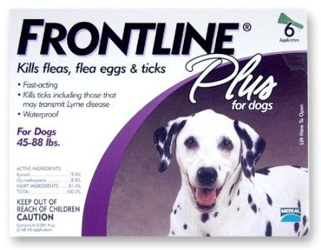 Merial Frontline Plus Flea and Tick Control for Dogs and Puppies    http://email-ads.biz/blog1/2012/09/27/amazon-com-merial-frontline-plus-flea-and-tick-control-for-45-to-88-pound-dogs-6-applicators-pet-supplies/