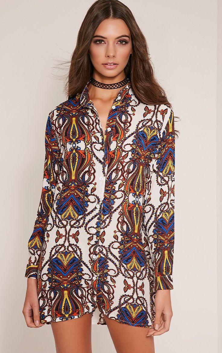 Simone Blue Paisley Oversized Shirt