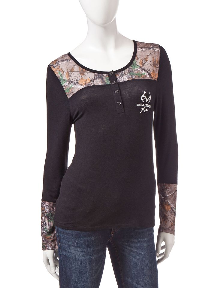 Realtree® Camouflage Henley Knit Top | Stage Stores