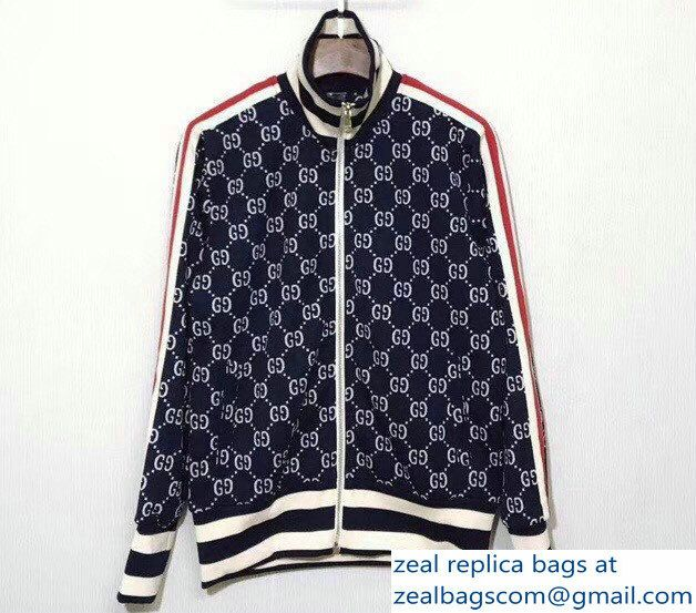 Gucci GG Jacquard Cotton Jacket Dark BlueWhiteRed 2018