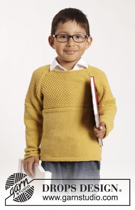 Gestrickter Pullover in mit Raglanärmeln und Strukturmuster in DROPS Cotton Merino für Kinder. Größe 1 - 10 Jahre.